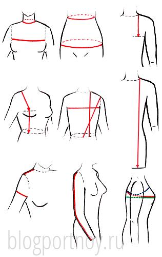Мерки для построения выкройки плечевого изделия