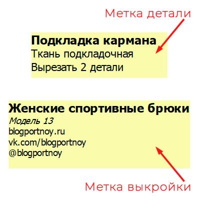 Надписи на деталях выкройки в программе Валентина